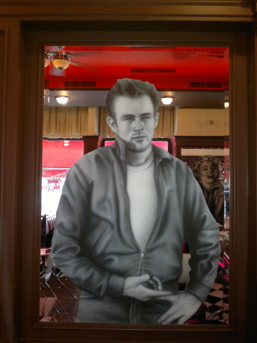 James Dean with cigar airbrush on mirror