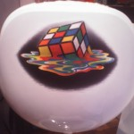 Rubik's cube airbrush on chair