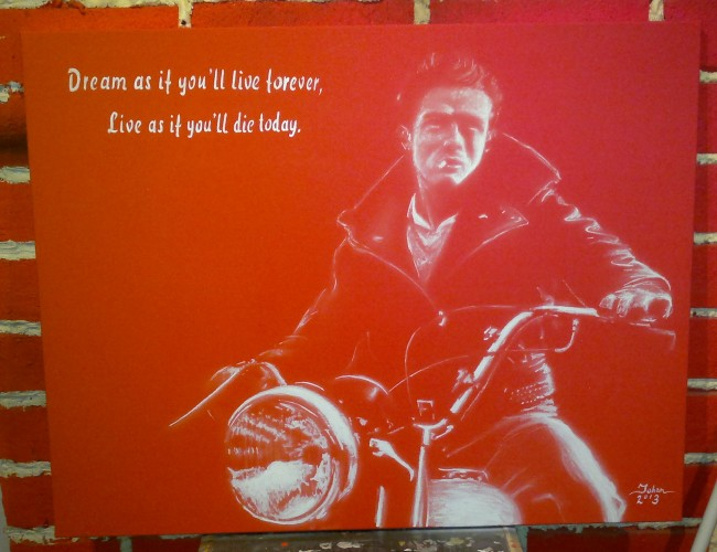 James Dean red and white combine technique of brush and airbrush 90cm x 70cm
