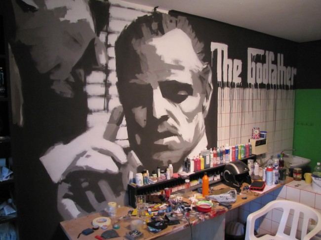 The Godfather painted by paint roller
