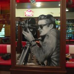 James Dean with camera airbrush on mirror