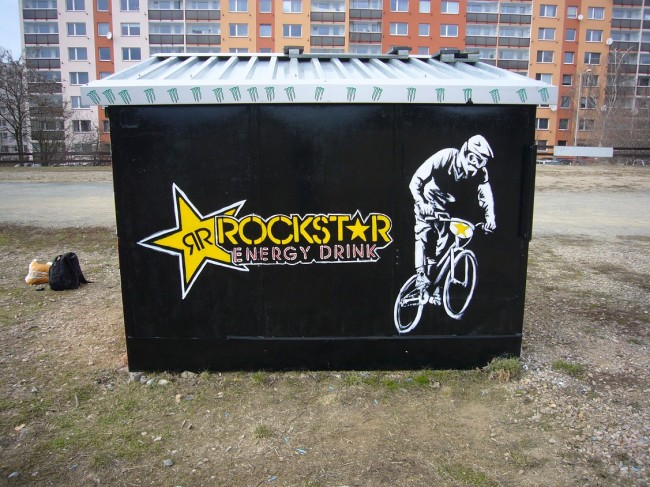 Rockstar referee cab on BMX track  in Bohnice-Prague, brush