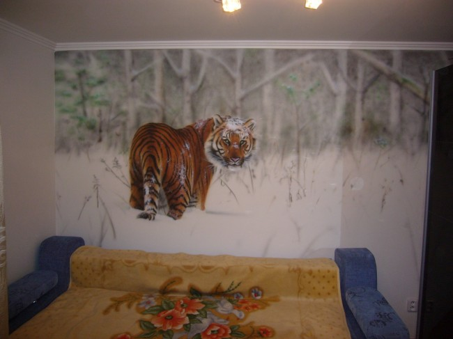 Tiger in snow airbrush