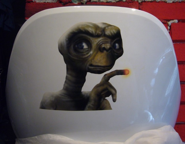 E.T. airbrush and crayon on chair