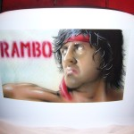 Rambo airbrush and brush on chair