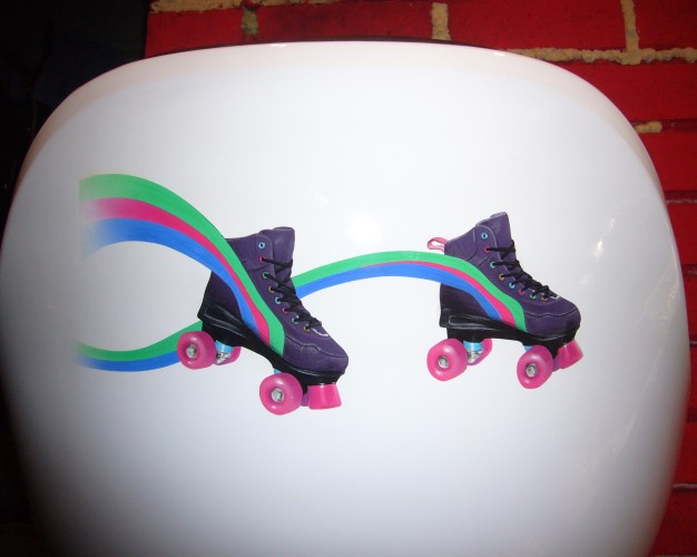 Skates airbrush and crayon on chair