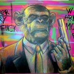 'Never try to fuck with armed monkey' 60cm x 90cm, board, markers and cans, 8500 CZK