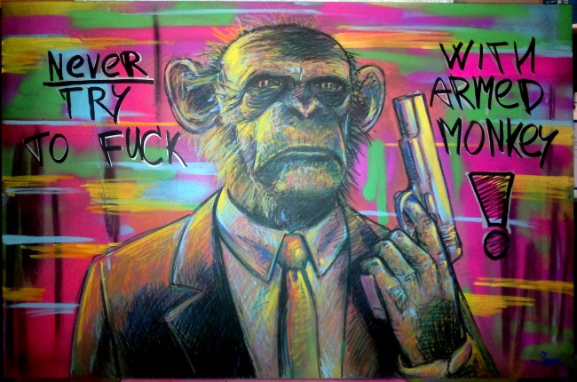 'Never try to fuck with armed monkey'